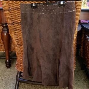 100% Brown Suede Skirt by CAbi